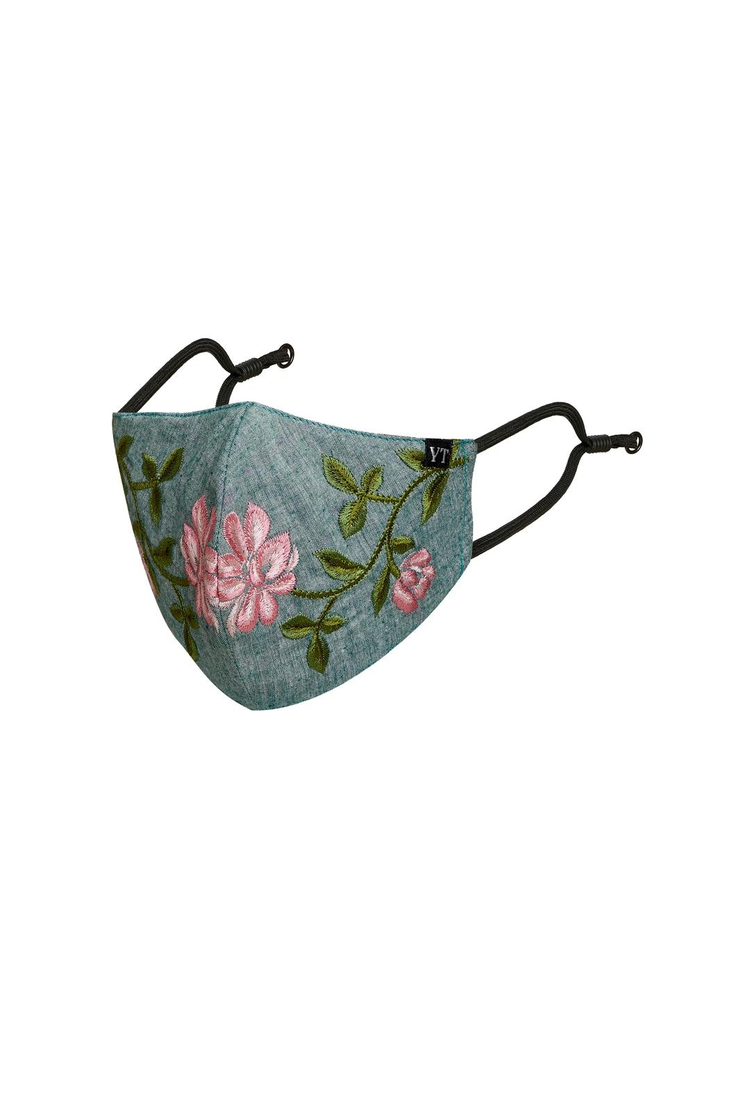 Young Threads Floral Embroidered Mask, 3layered, 100% Cotton Lining Pack Of 3 - Front Full Image