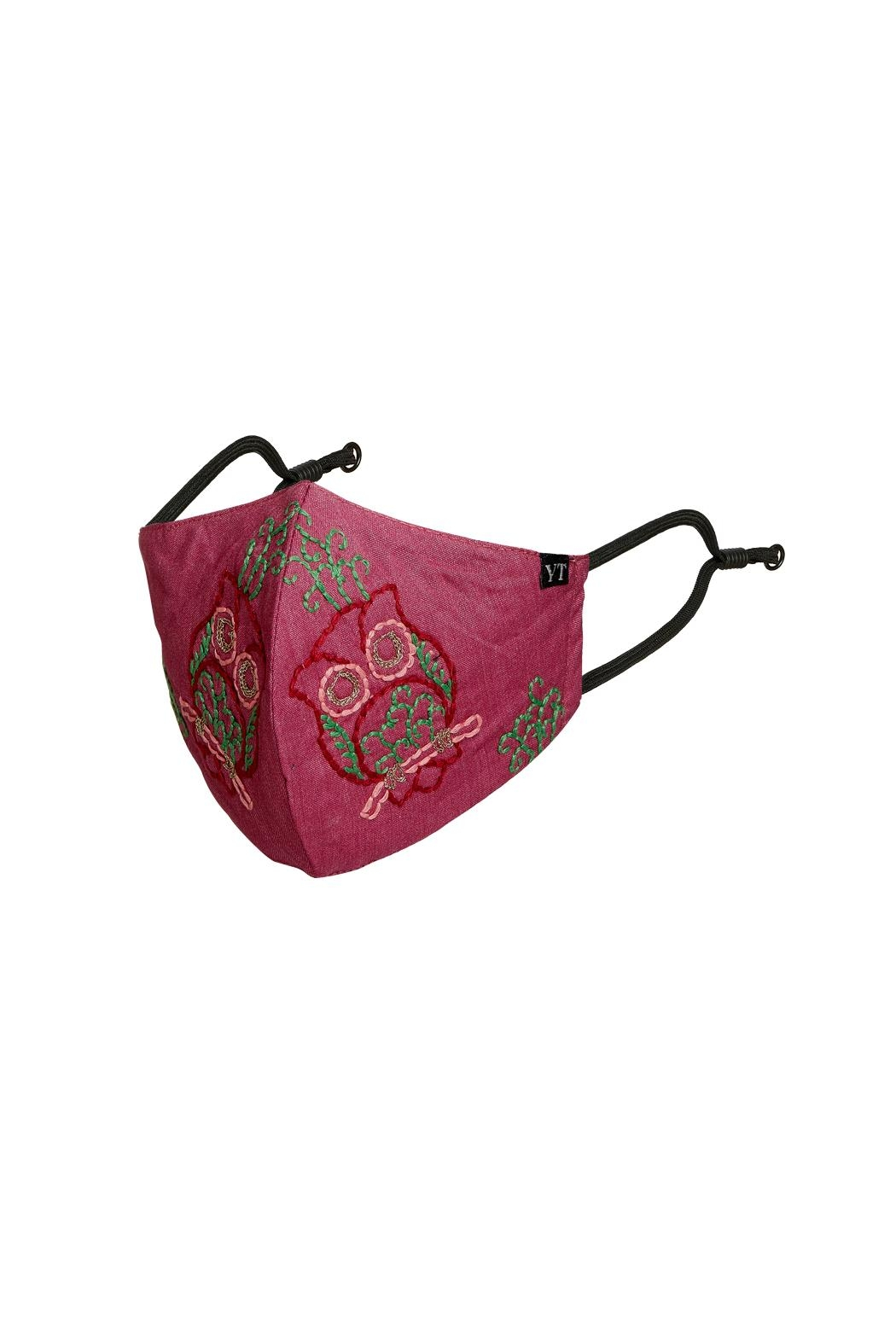 Young Threads Floral Embroidered Mask, 3layered, 100% Cotton Lining Pack Of 3 - Side Cropped Image