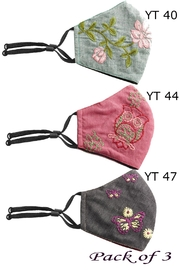 Young Threads Floral Embroidered Mask, 3layered, 100% Cotton Lining Pack Of 3 - Front full body