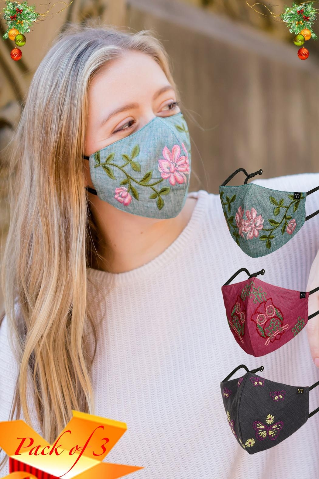 Young Threads Floral Embroidered Mask, 3layered, 100% Cotton Lining Pack Of 3 - Main Image