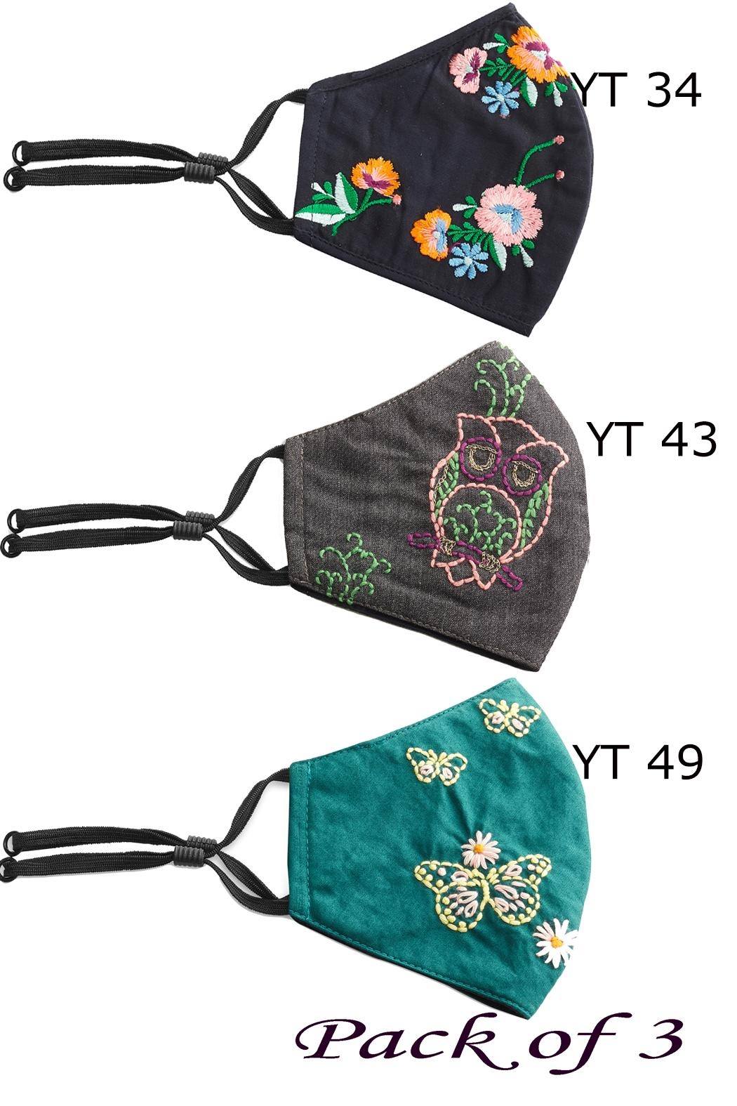 Young Threads Floral Embroidered Mask, 3layered, Adjustable Ear Loops- Pack Of 3 - Front Full Image