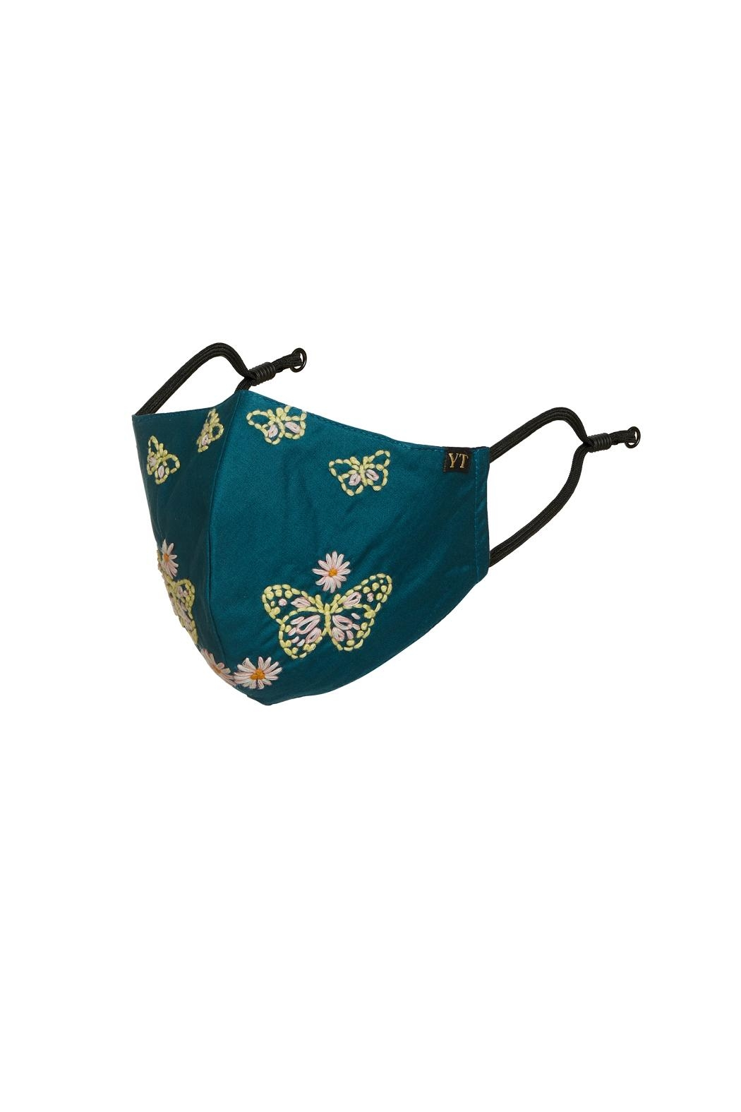 Young Threads Floral Embroidered Mask, 3layered, Adjustable Ear Loops- Pack Of 3 - Back Cropped Image