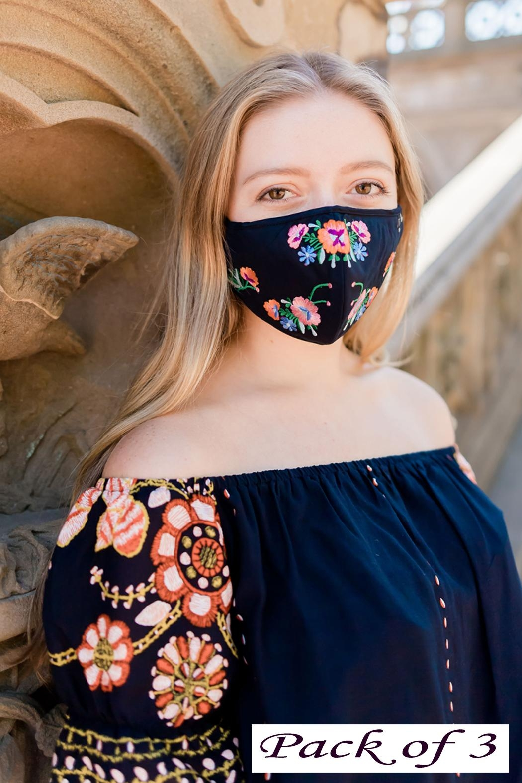 Young Threads Floral Embroidered Mask, 3layered, Adjustable Ear Loops- Pack Of 3 - Main Image