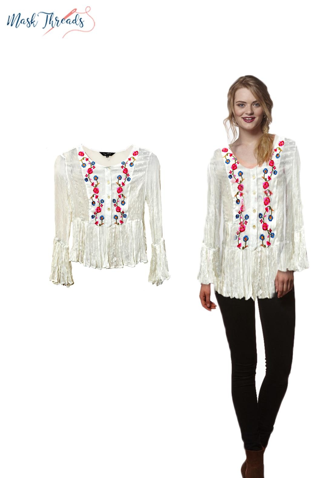 Young Threads Floral Multicolor Embroidery Plain Print Patchwork Embroidery Boho Summer Top Matching Face Mask - Main Image