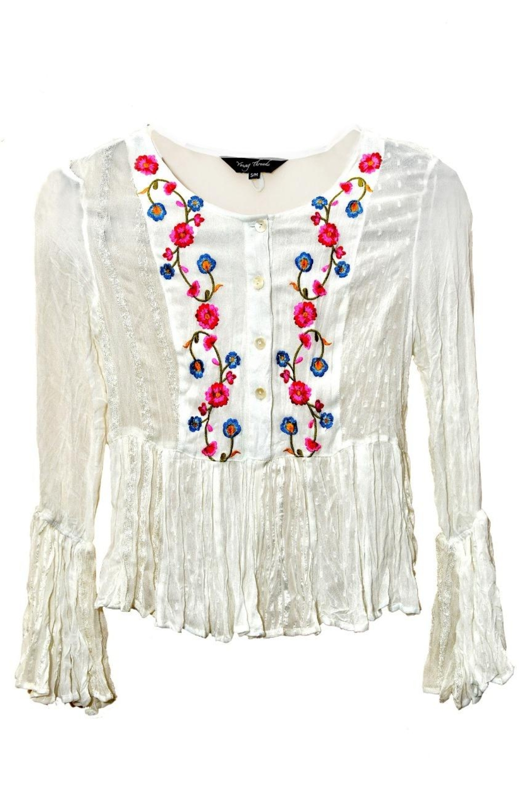 Young Threads Floral Multicolor Embroidery Plain Print Patchwork Embroidery Boho Summer Top Matching Face Mask - Front Full Image