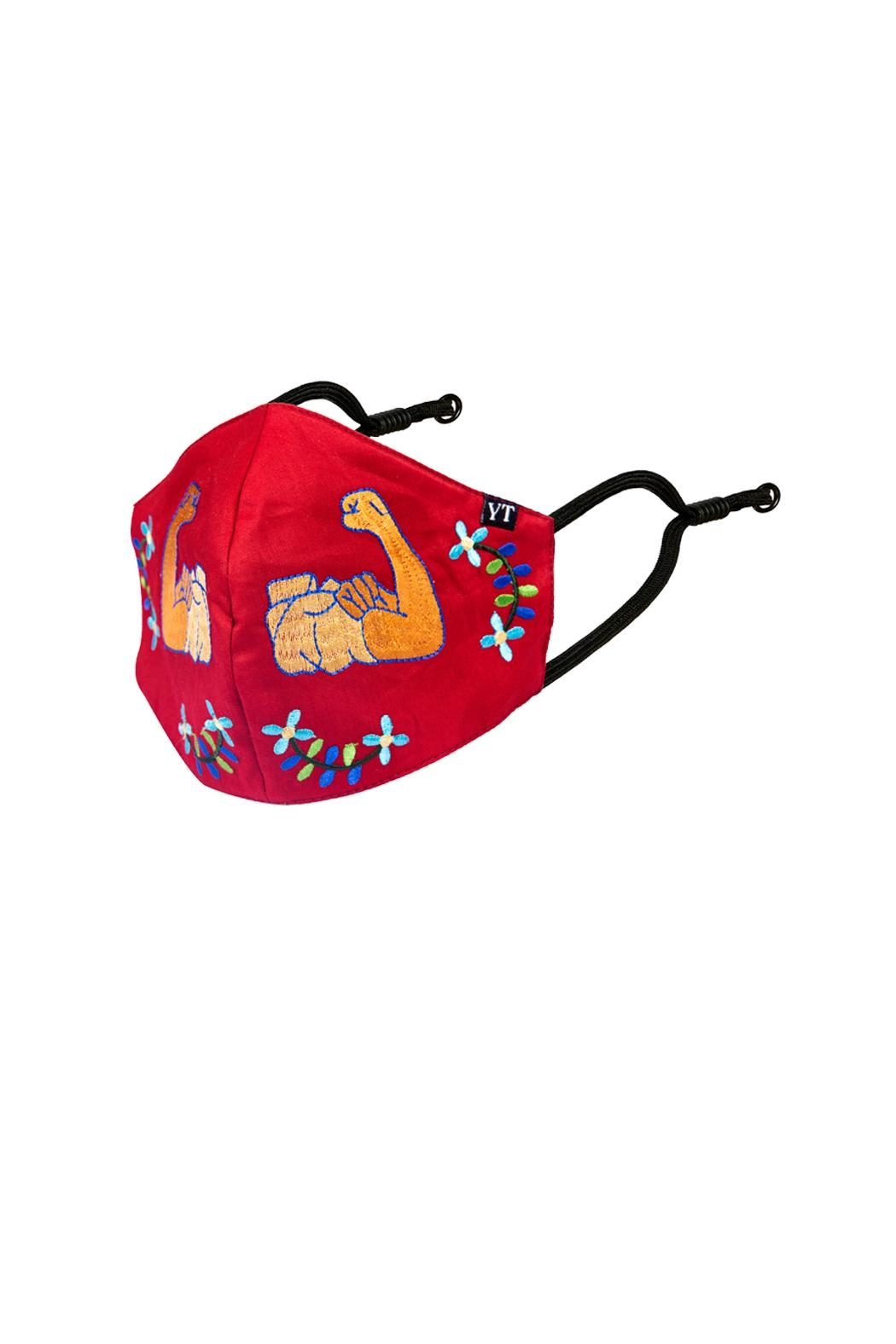 Young Threads Girl Power Embroidered Mask, 100% Cotton Lining , 3 Layered Face Covering- Pack Of 3 - Back Cropped Image