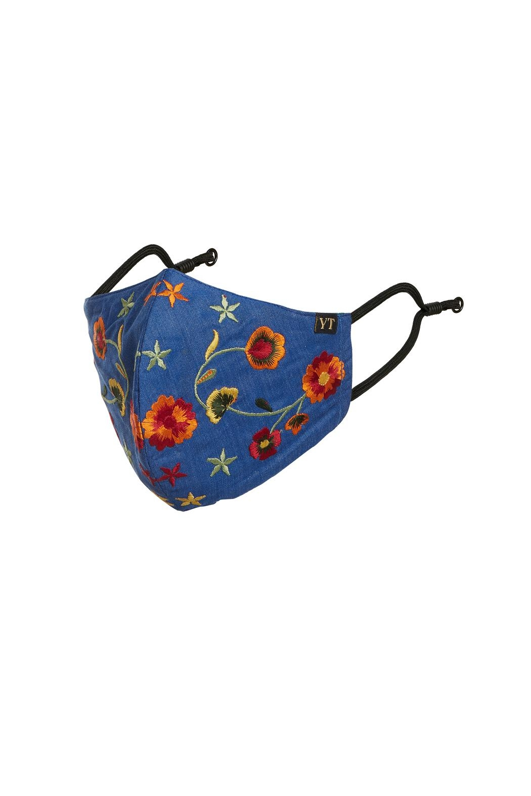 Young Threads Holiday Embroidered Face Mask, 3layered, 100% Cotton Lining- Pack Of 3 - Back Cropped Image