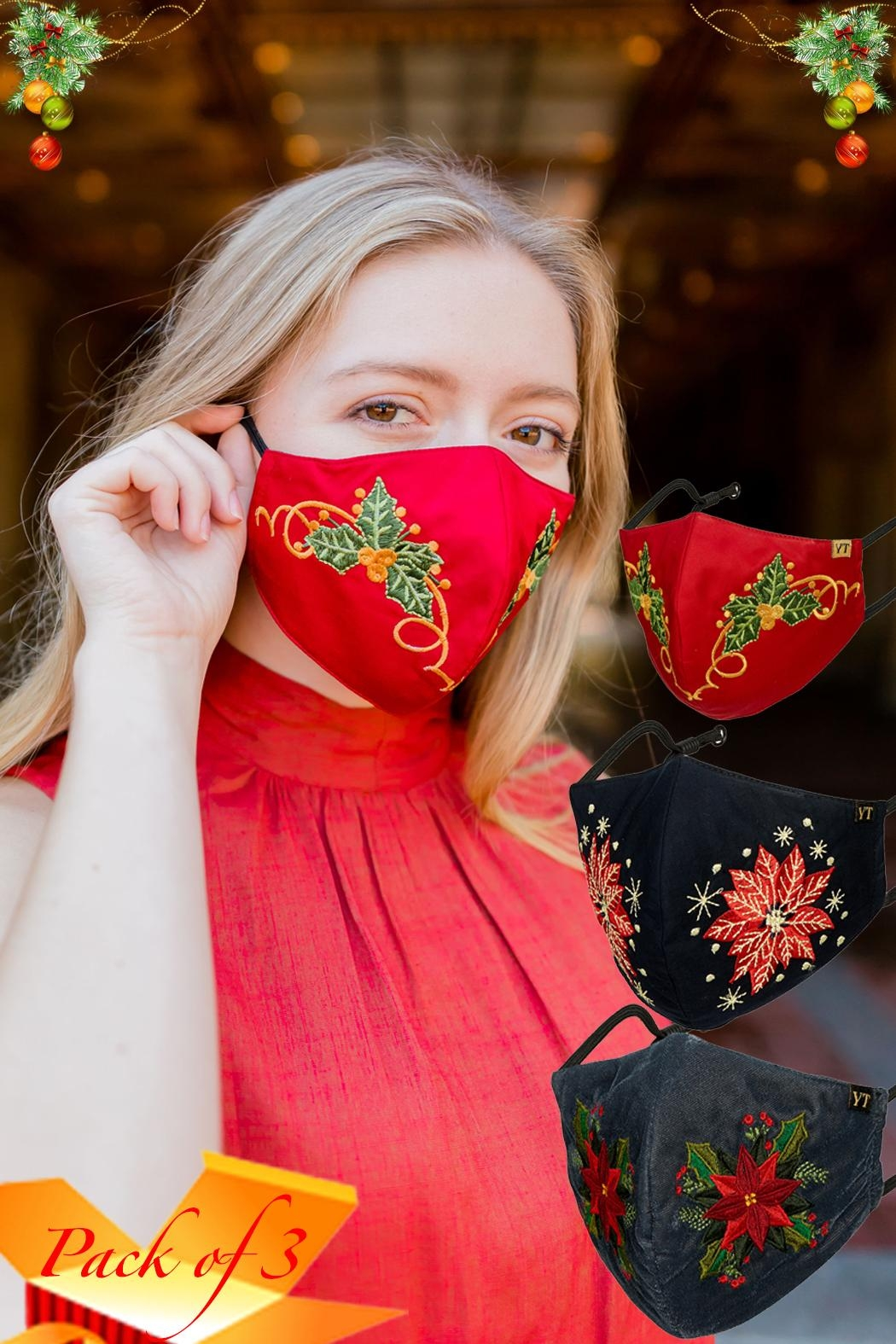 Young Threads Best Seller Holiday Emb Mask, Embroidered Mask, Cotton Lining, Handcrafted Mask, 3layered Face Mask, Nose Pin, Ear Loops- Pack Of 3 - Main Image