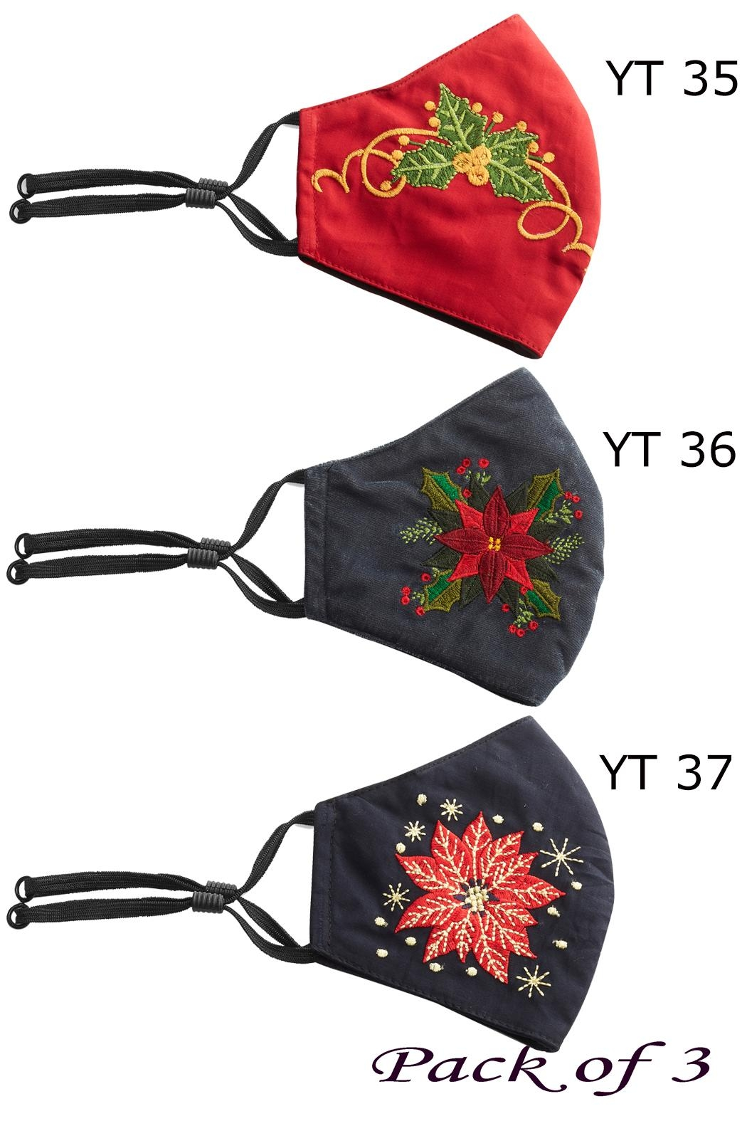 Young Threads Charismas Gift, Holiday Embroidered Face Mask, 3layered, 100% Cotton Lining Pack Of 3 - Front Full Image