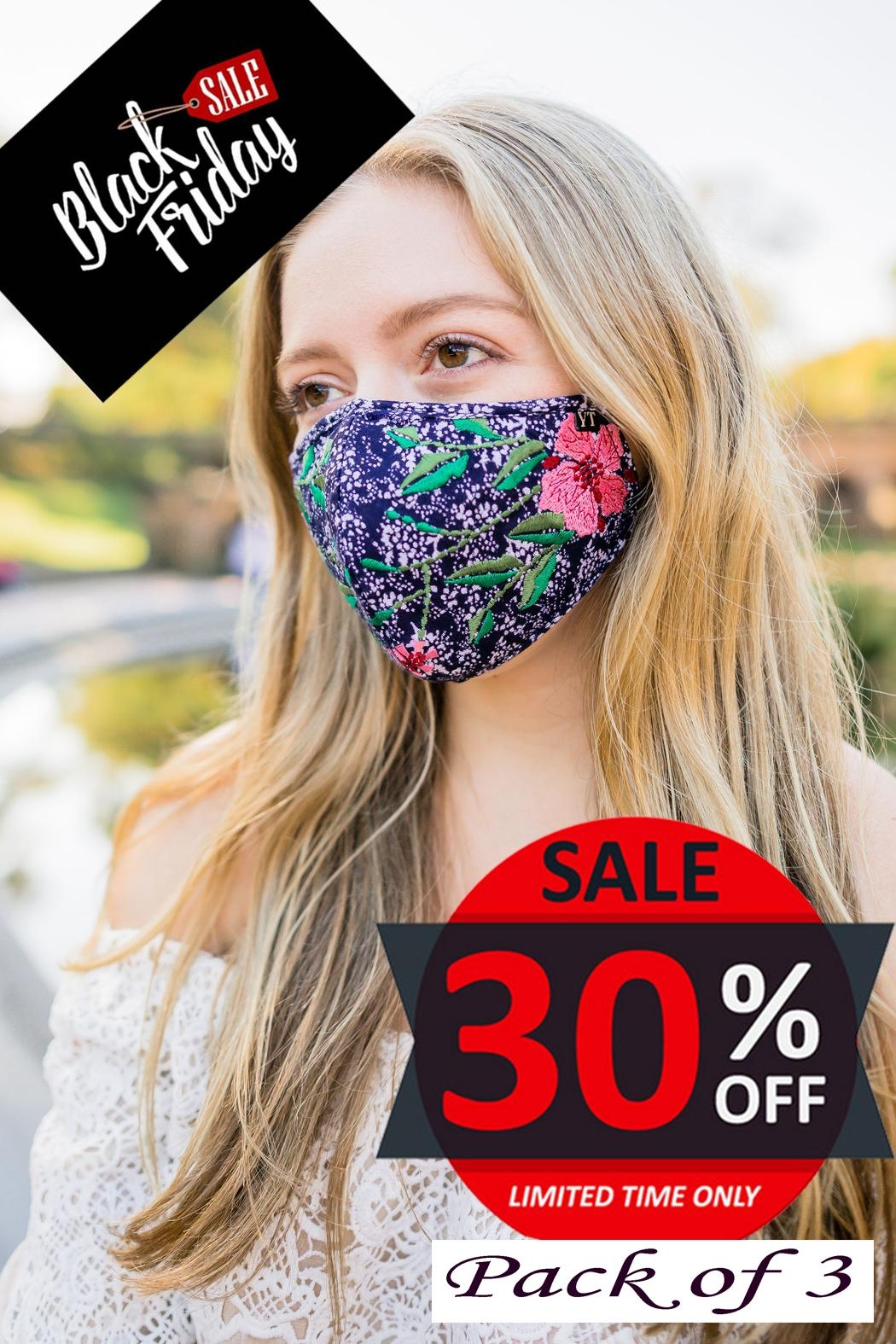 Young Threads Holiday Embroidered Face Mask, 3layered, Nose Pin, Adjustable Ear Loops Pack Of 3 - Main Image