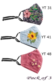 Young Threads Holiday Embroidered Face Mask, 3layered, Nose Pin, Adjustable Ear Loops Pack Of 3 - Front full body