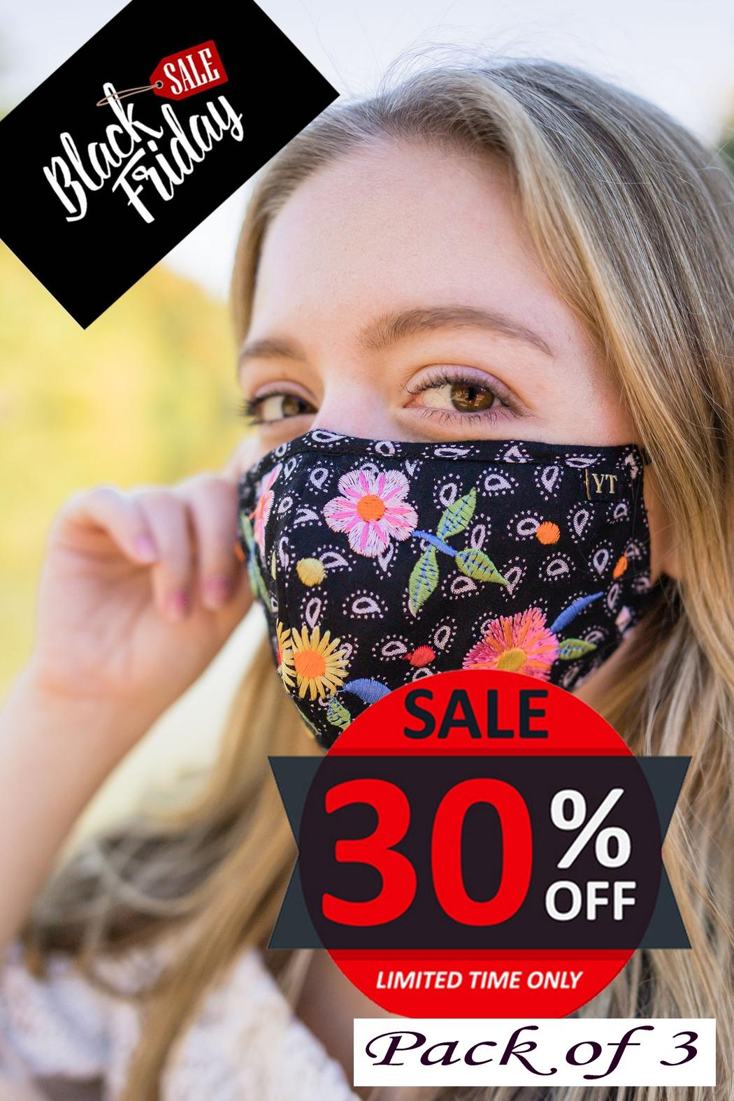 Young Threads Holiday Embroidered Mask, 3layered, 100% Cotton Lining- Pack Of 3 - Main Image
