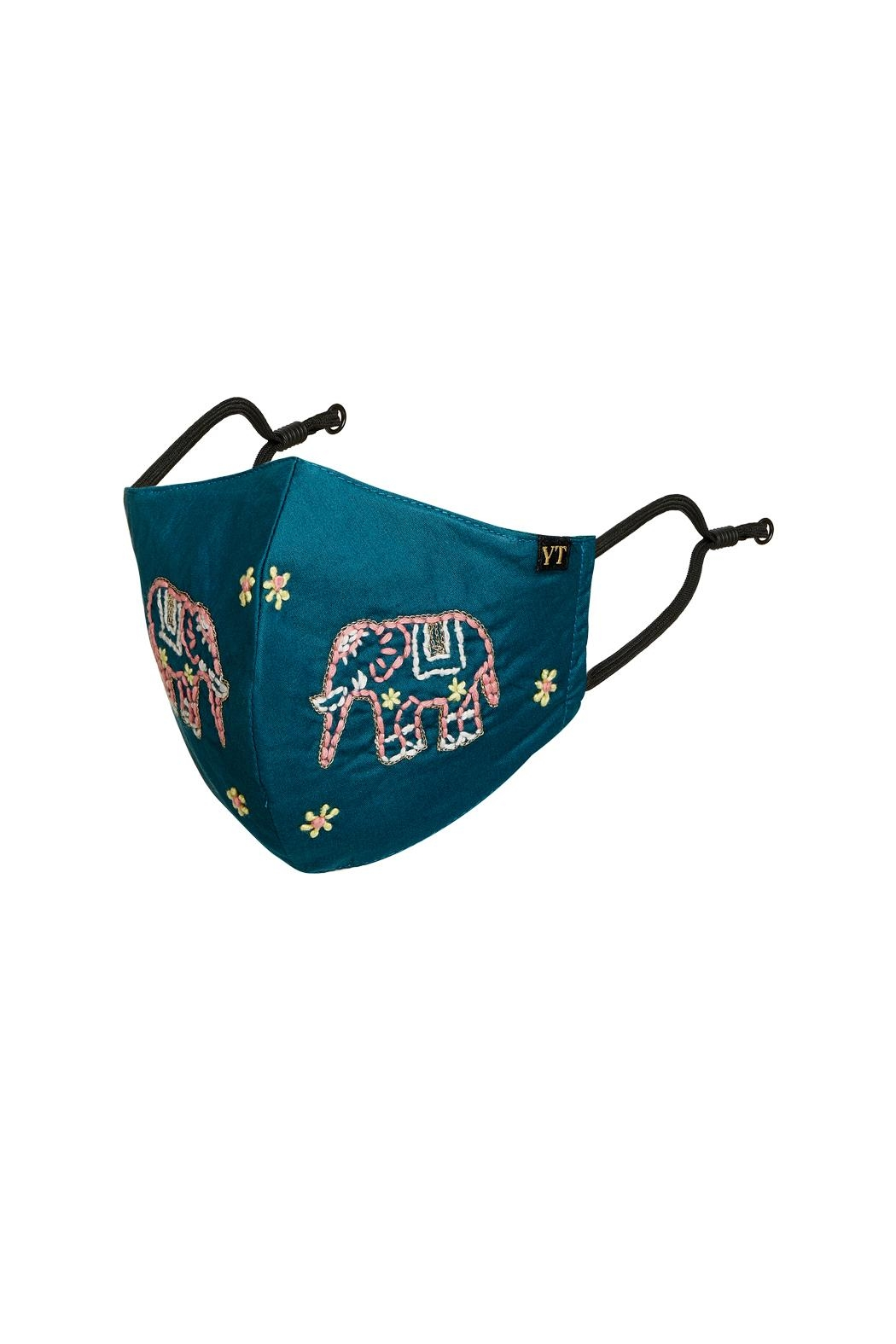 Young Threads Holiday Embroidered Mask, 3layered, 100% Cotton Lining- Pack Of 3 - Back Cropped Image