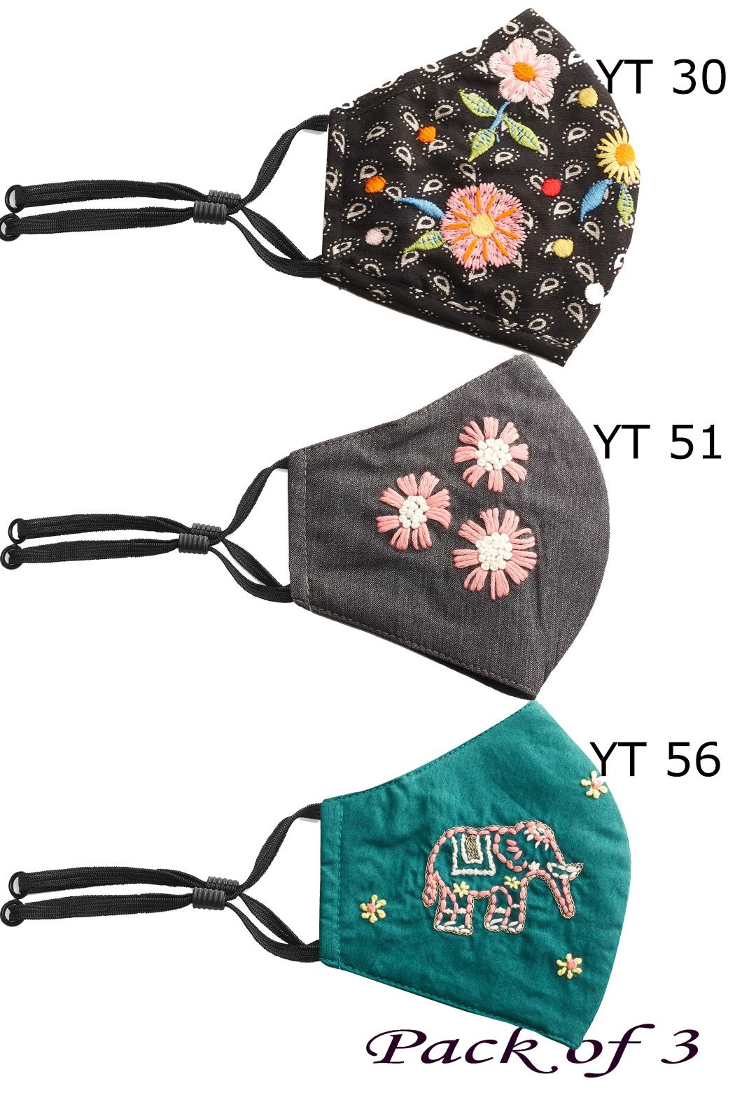 Young Threads Holiday Embroidered Mask, 3layered, 100% Cotton Lining- Pack Of 3 - Front Full Image