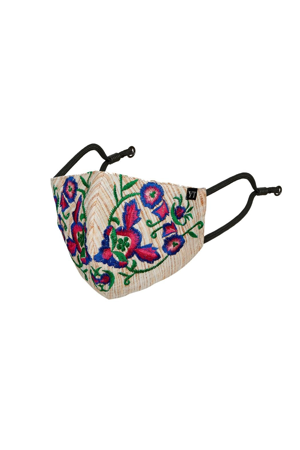 Young Threads Holiday Embroidered Mask, 3layered, 100% Cotton Lining, Adjustable Ear Loops Pack Of 3 - Front Full Image