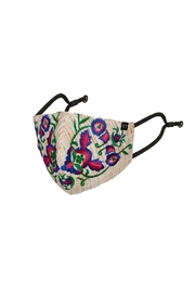 Young Threads Holiday Embroidered Mask, 3layered, 100% Cotton Lining, Adjustable Ear Loops Pack Of 3 - Front full body