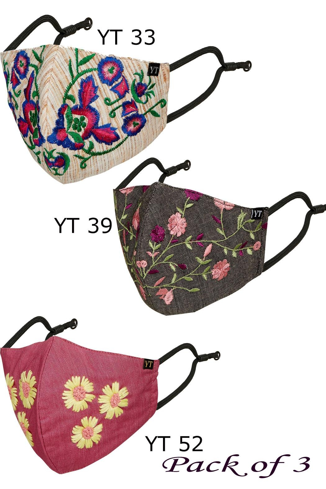 Young Threads Holiday Embroidered Mask, 3layered, 100% Cotton Lining, Adjustable Ear Loops Pack Of 3 - Main Image