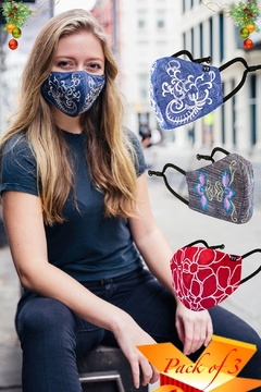 Young Threads Holiday Face Covering, Embroidered Mask, Cotton Lining, 3layered Face Covering, Nose Pin-Pack Of 3 - Product List Image