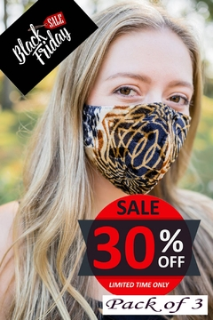 Shoptiques Product: Printed Velvet Mask 3pack, 100% Cotton Lining, 3layered Face Mask, Adjustable Ear Loops-Pack Of 3