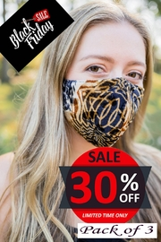 Young Threads Printed Velvet Mask 3pack, 100% Cotton Lining, 3layered Face Mask, Adjustable Ear Loops-Pack Of 3 - Product Mini Image