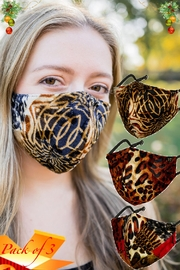 Young Threads Printed Velvet Mask 3pack, 100% Cotton Lining, 3layered Face Mask -Pack Of 3 - Front cropped