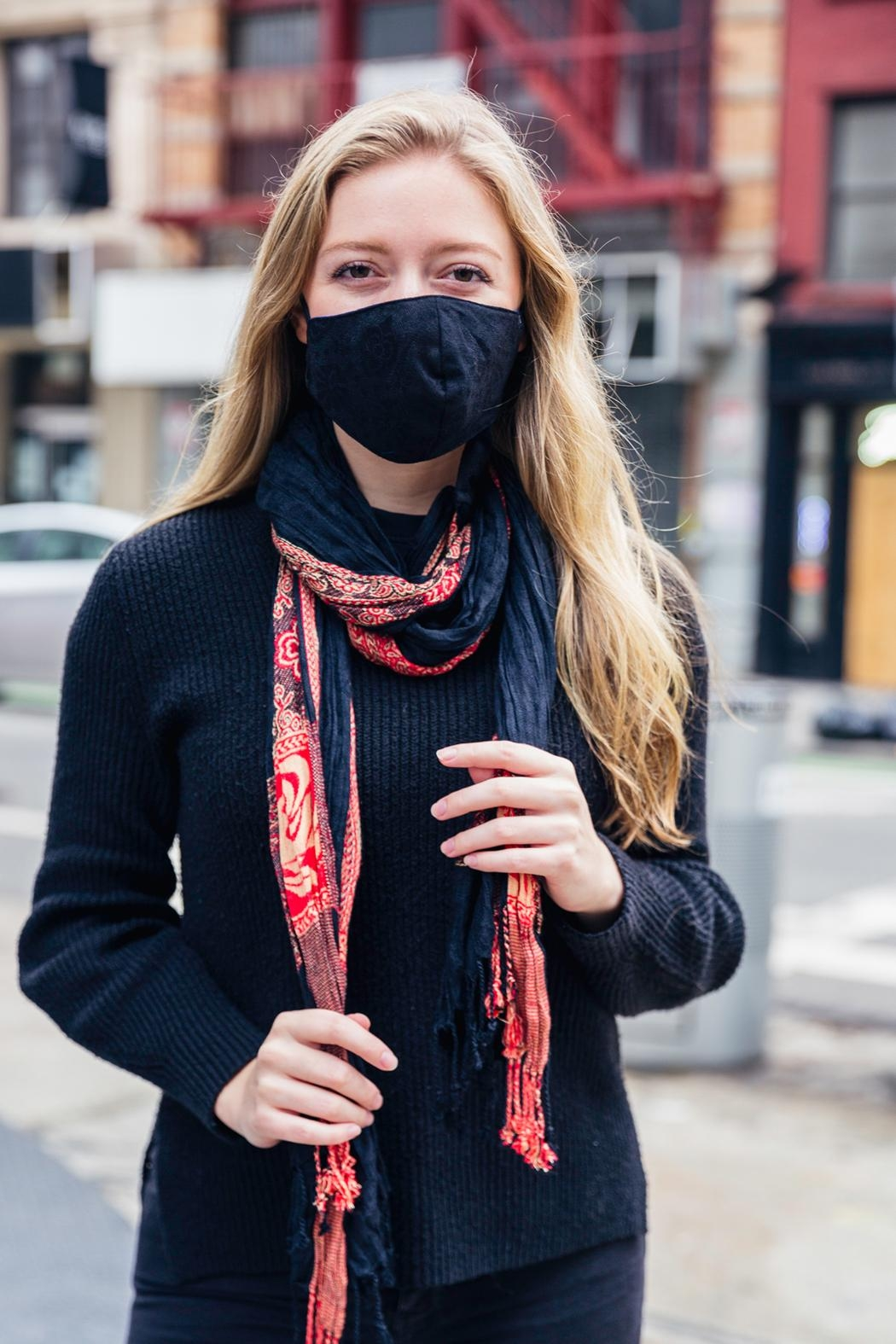 Young Threads Scarf With Mask(cotton Lining) Set. Removable Scarf Secured With Button Closure. Perfect For Colder Days, Triple Layer, Adjustable Strap - Main Image