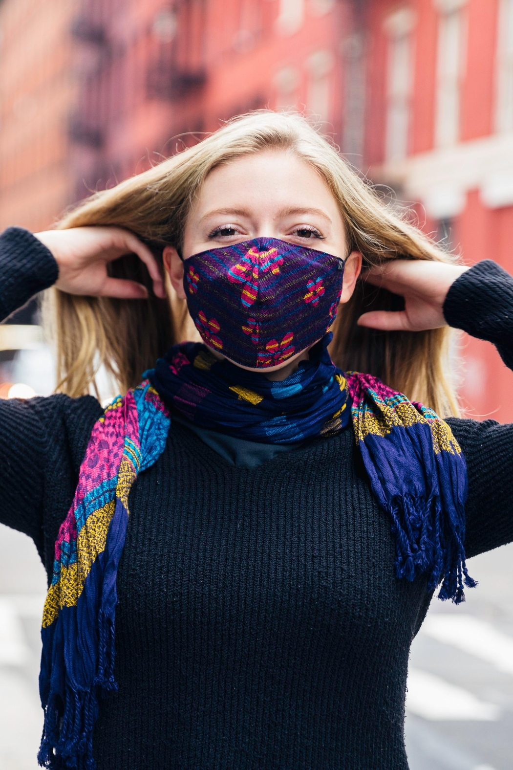 Young Threads Scarf With Mask Set, Reversible Scarf Secured With Button Closure, Adjustable Straps + Triple Layer Mask. Fall Fashion Masks. - Front Full Image
