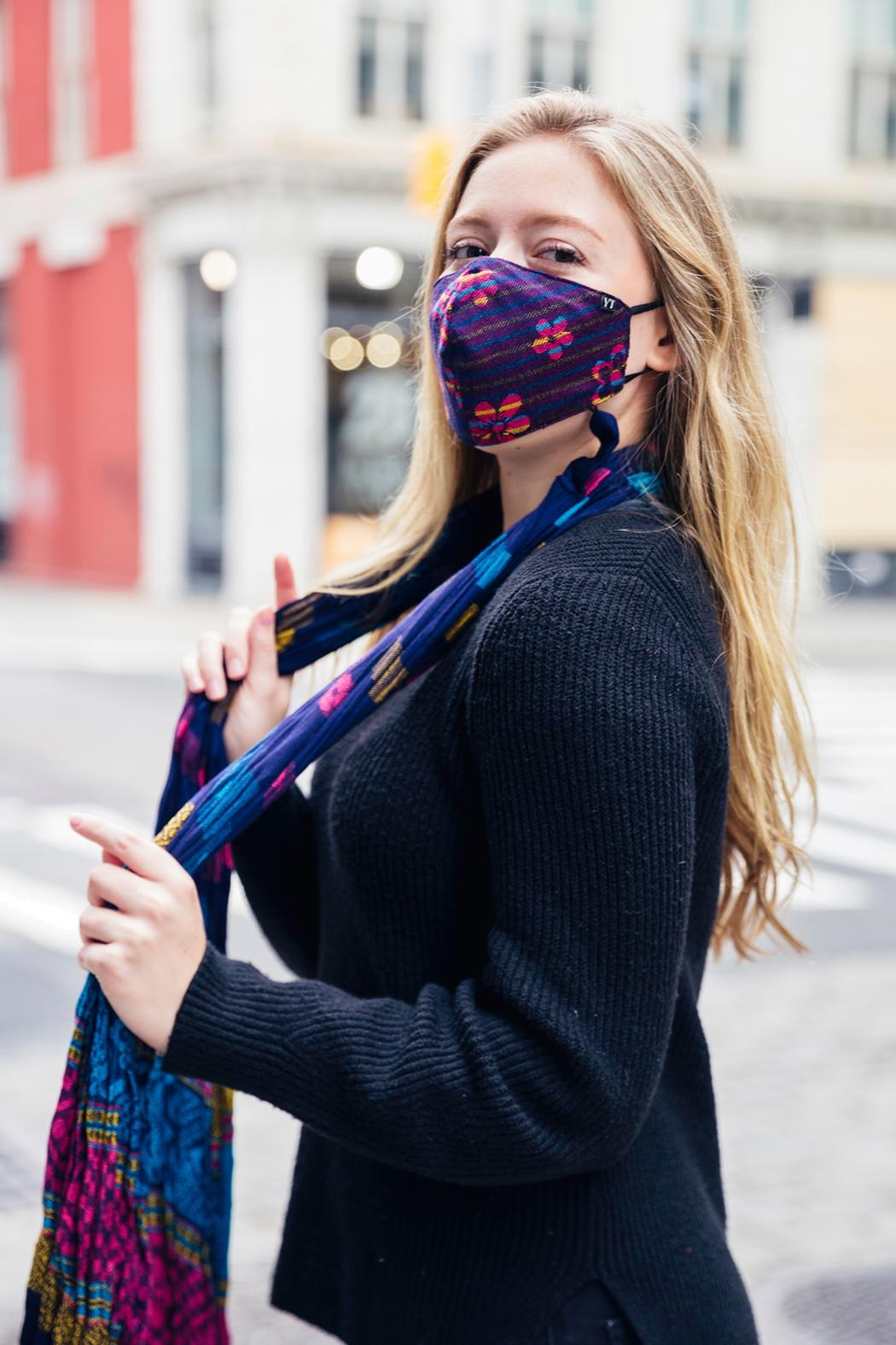 Young Threads Scarf With Mask Set, Reversible Scarf Secured With Button Closure, Adjustable Straps + Triple Layer Mask. Fall Fashion Masks. - Main Image