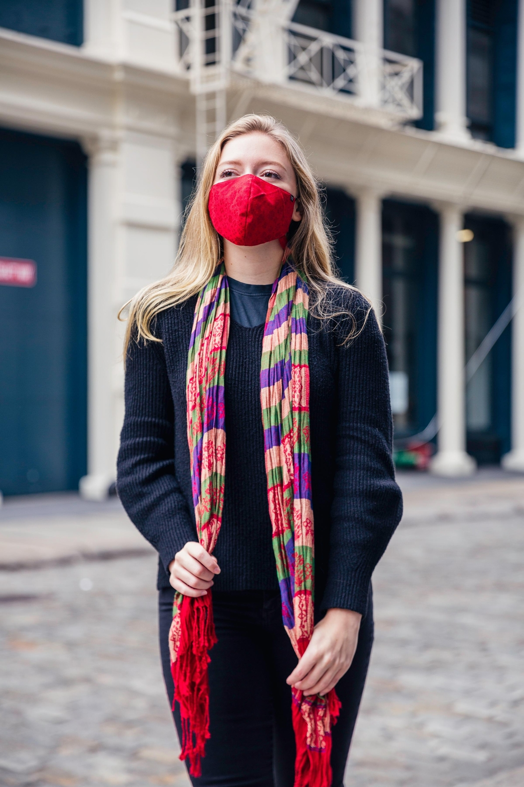 Young Threads Scarf With Mask Set, Reversible Scarf Secured With Button Closure, Adjustable Straps + Triple Layer Mask. Fall Fashion Masks. - Side Cropped Image