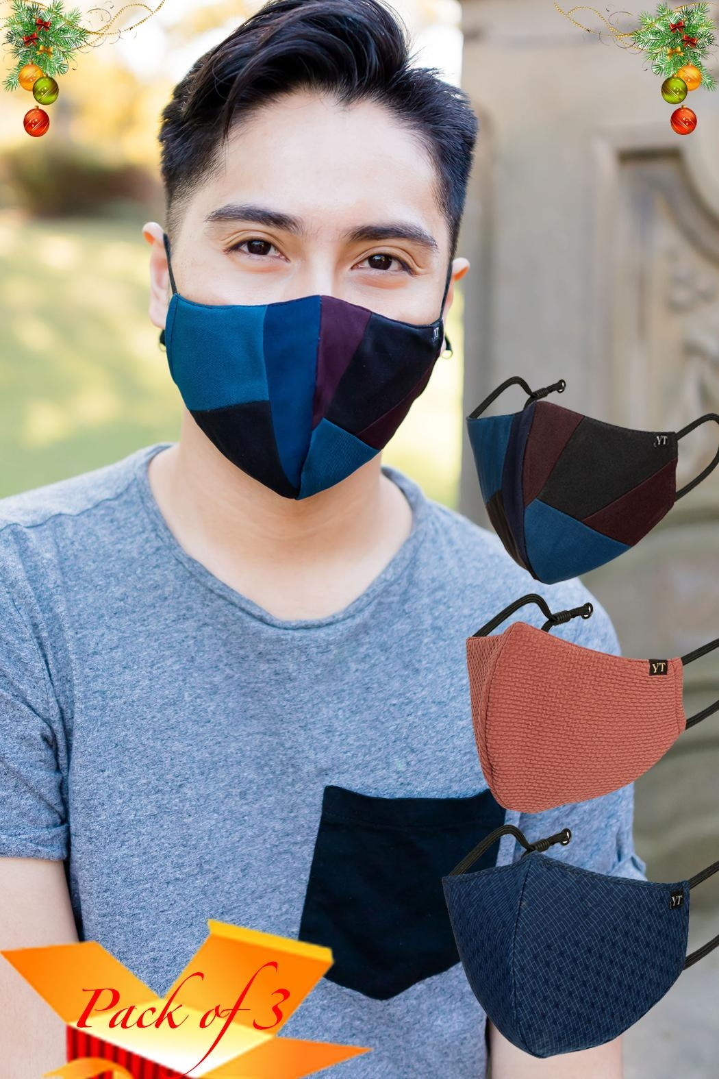 Young Threads Unisex Mask, 100% Cotton Lining, Patchwork Face Mask, 3layered Face Mask-Pack Of 3 - Main Image