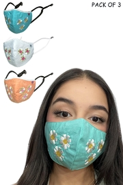 Young Threads White Leaf Adorable Embroidery Lace Face Mask - Pack Of 3 - Product Mini Image