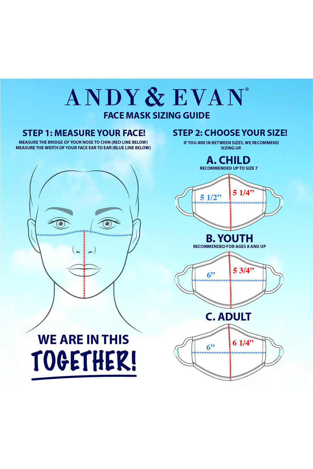 Andy & Evan Youth Face Masks 7-12 Years - Front Full Image