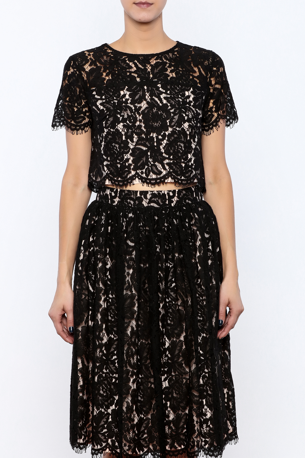 Yumi Cropped Lace Top - Side Cropped Image