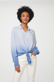 beachlunchlounge Yumi Dip Dye Button Up Top - Front cropped