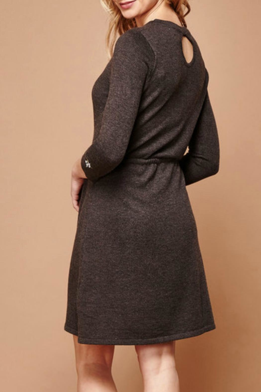 Yumi Embroidered Knit Dress - Front Full Image