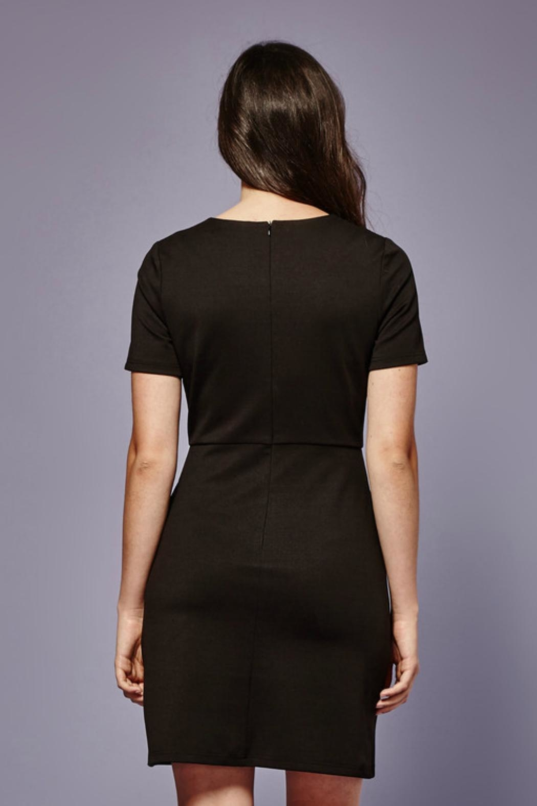 Yumi Embroidered Patch Ponte-Dress - Front Full Image