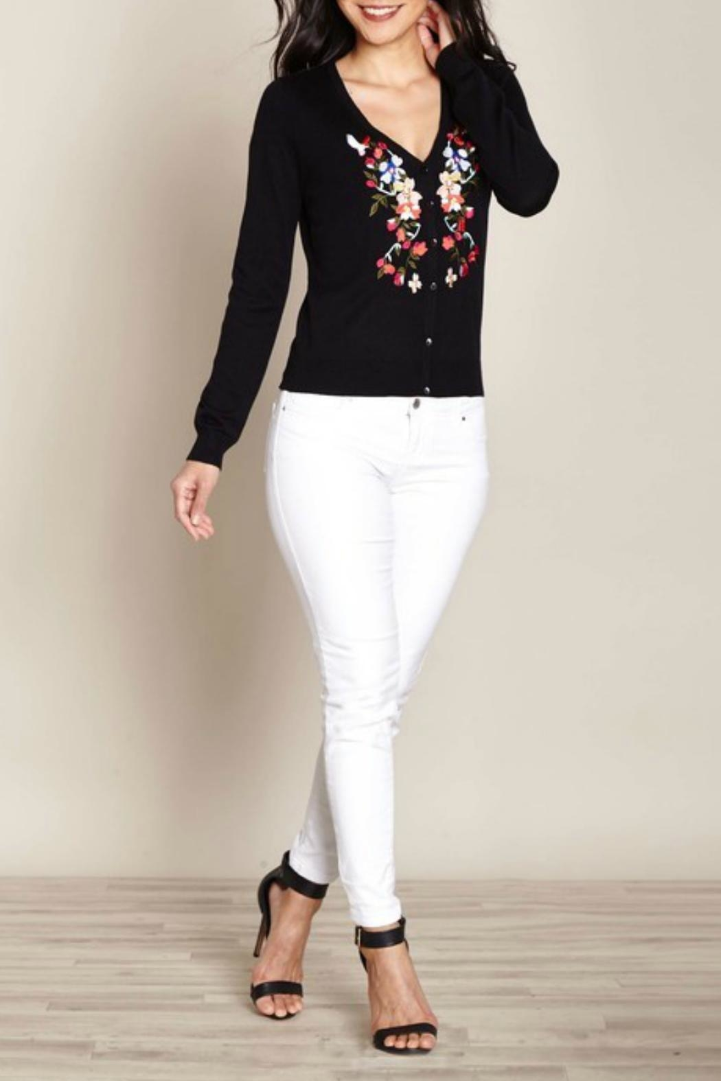 Yumi Floral Embroidered Cardigan - Main Image