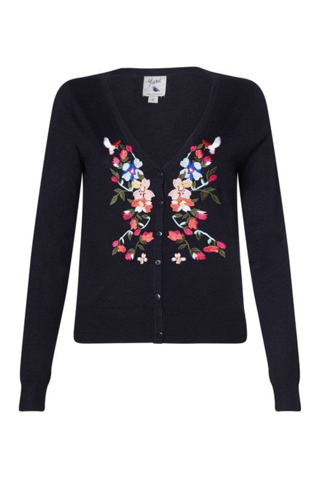 Yumi Floral Embroidered Cardigan - Front Full Image