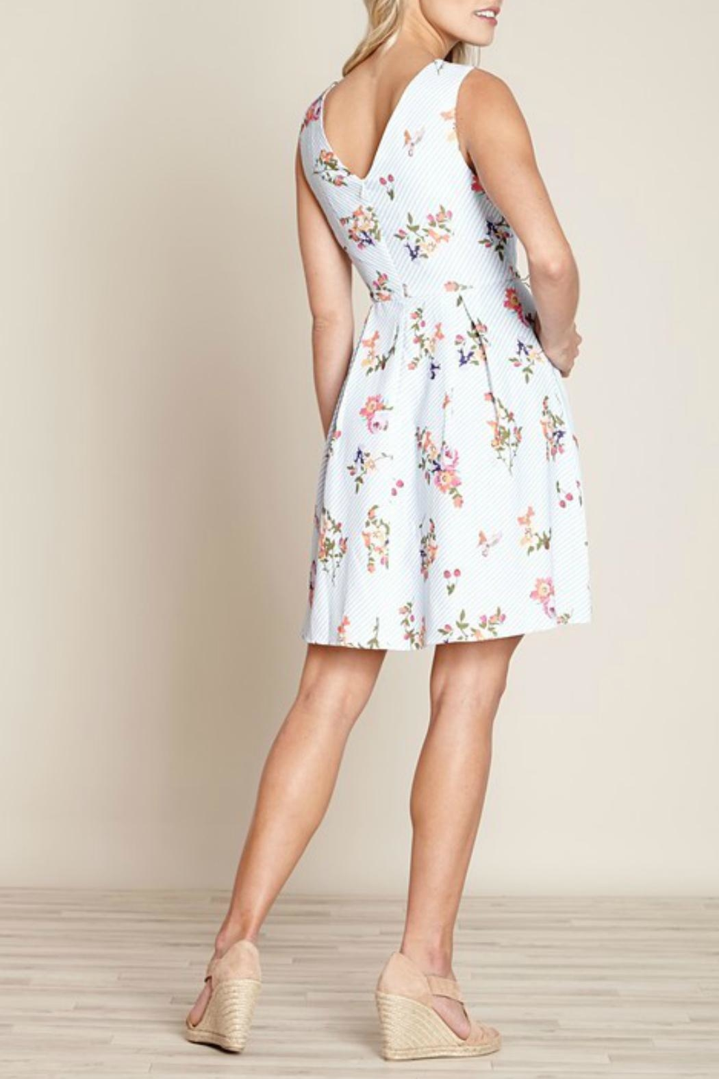 Yumi Floral Stripe Dress - Front Full Image