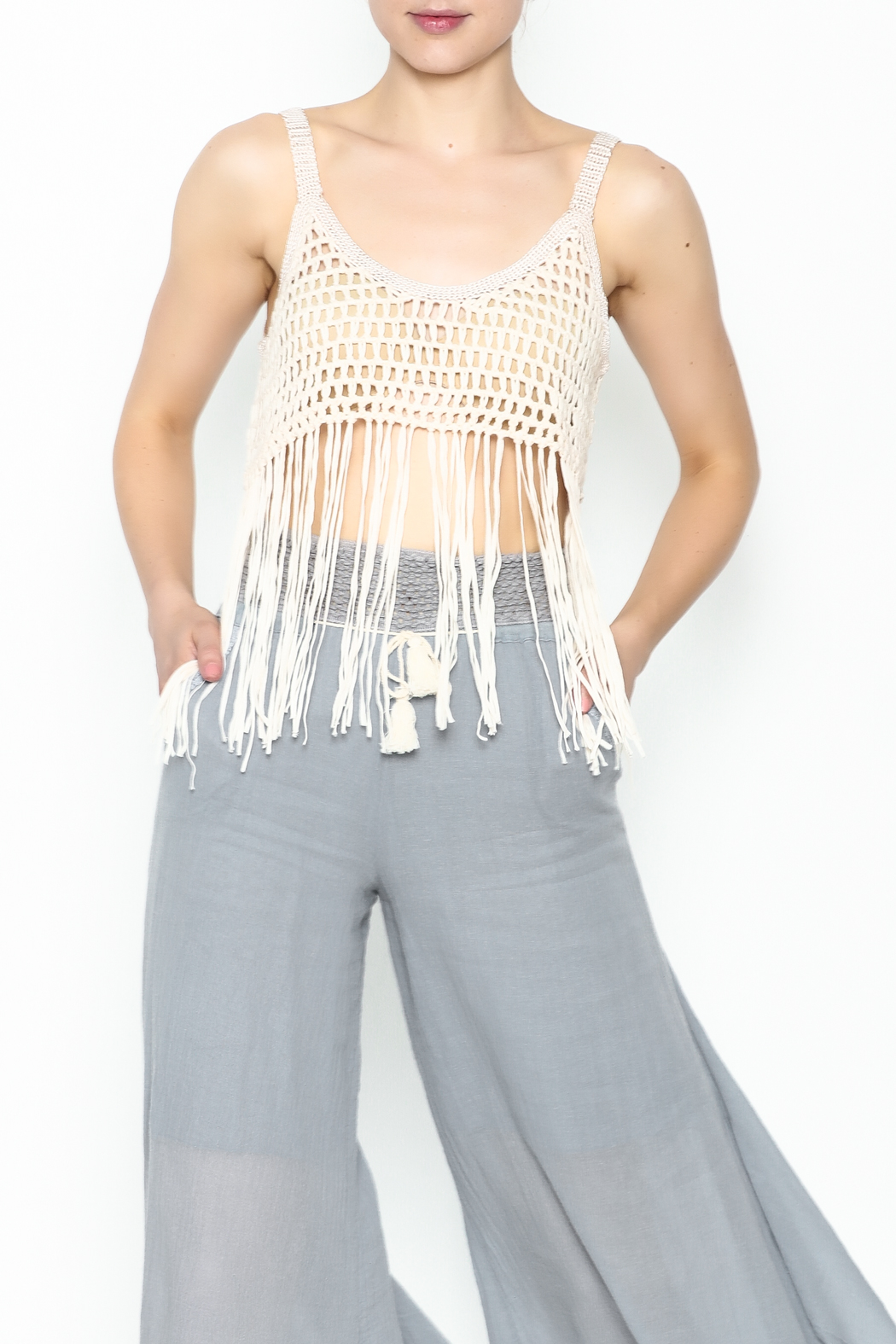 Yumi Fringe Crop Top - Front Cropped Image