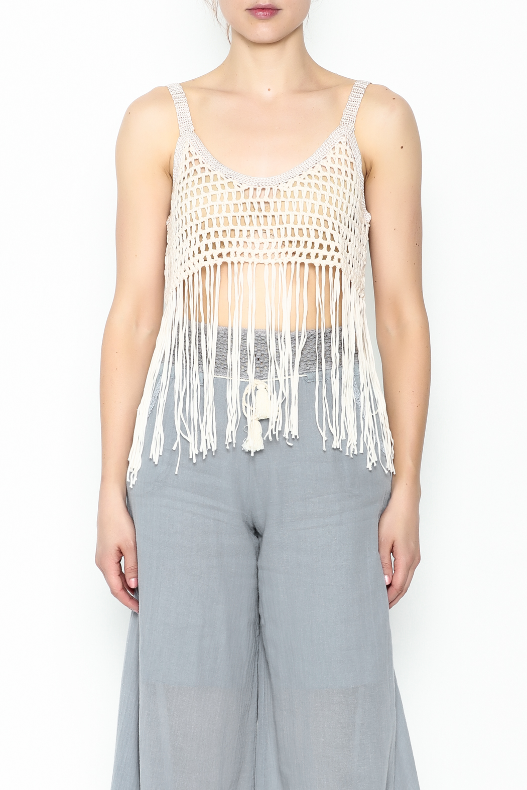 Yumi Fringe Crop Top - Front Full Image