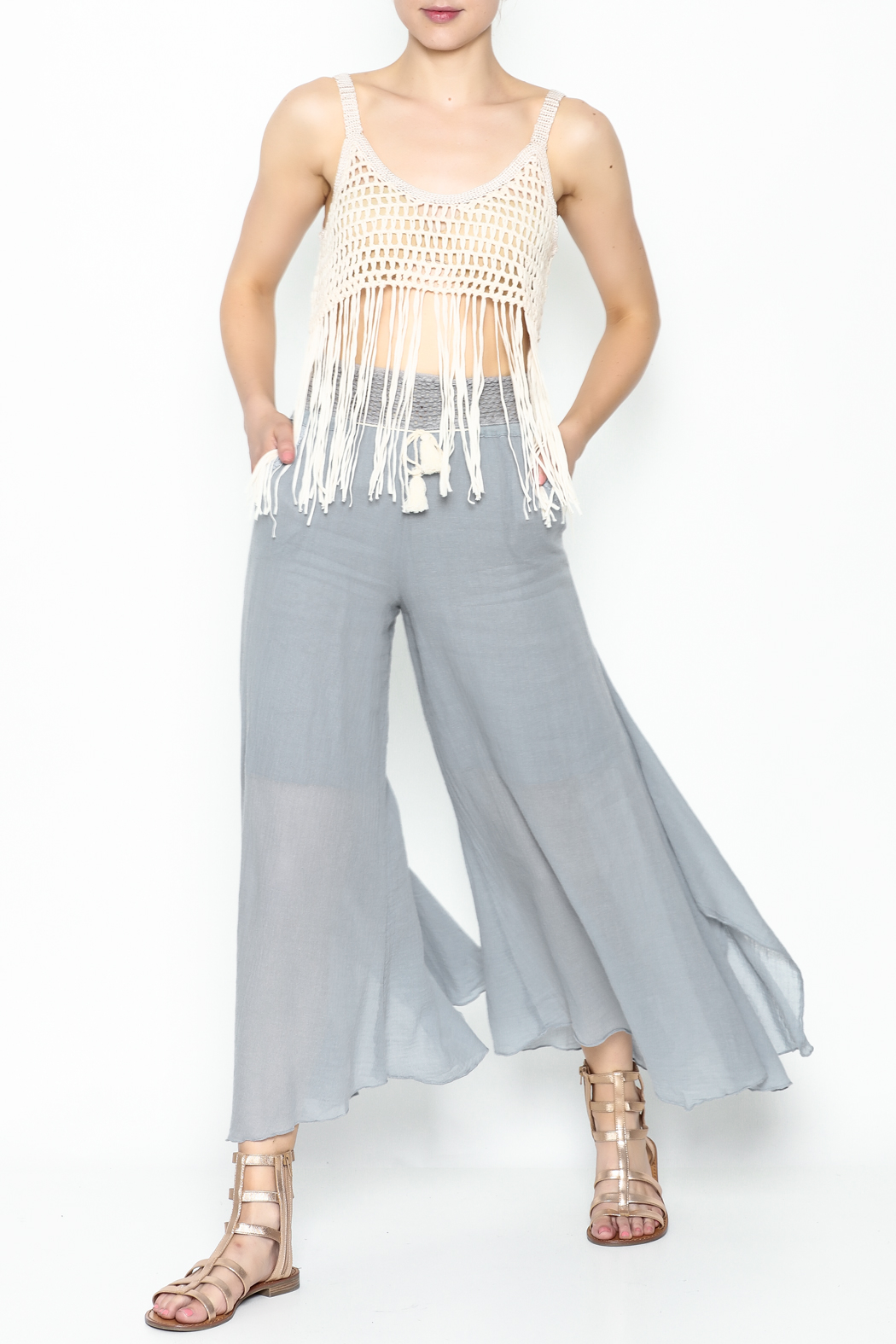 Yumi Fringe Crop Top - Side Cropped Image
