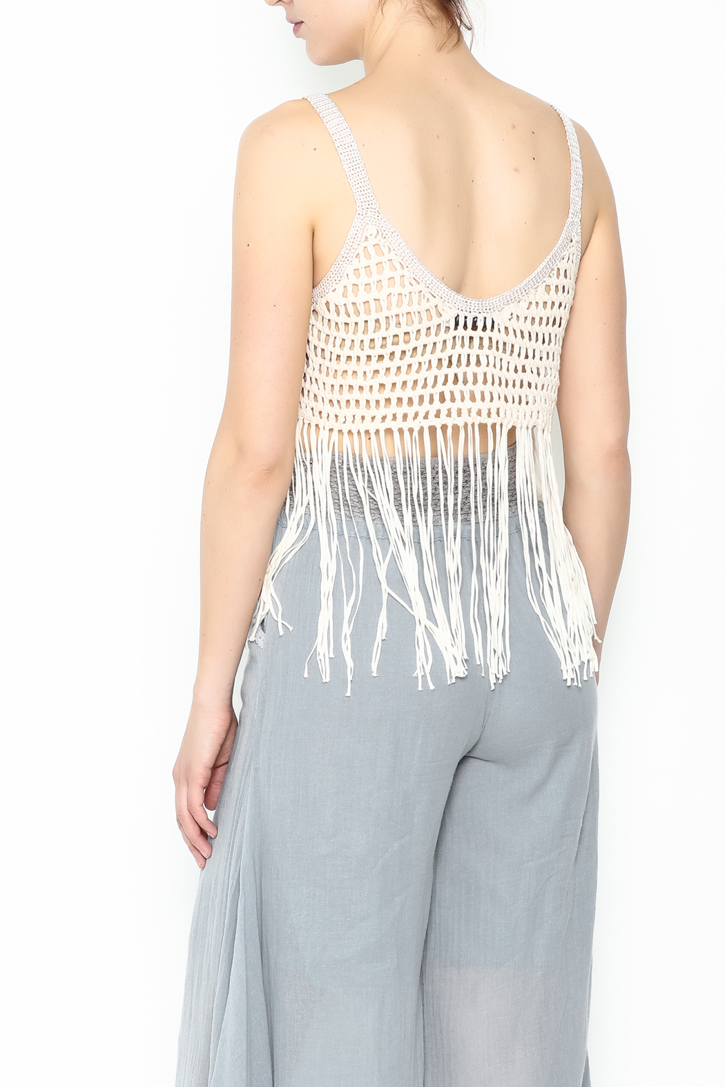 Yumi Fringe Crop Top - Back Cropped Image