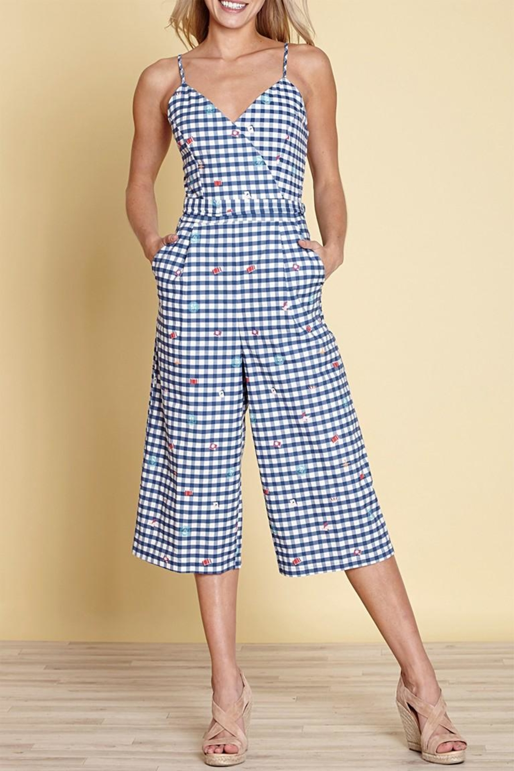 Yumi Gingham Travel Jumpsuit - Main Image