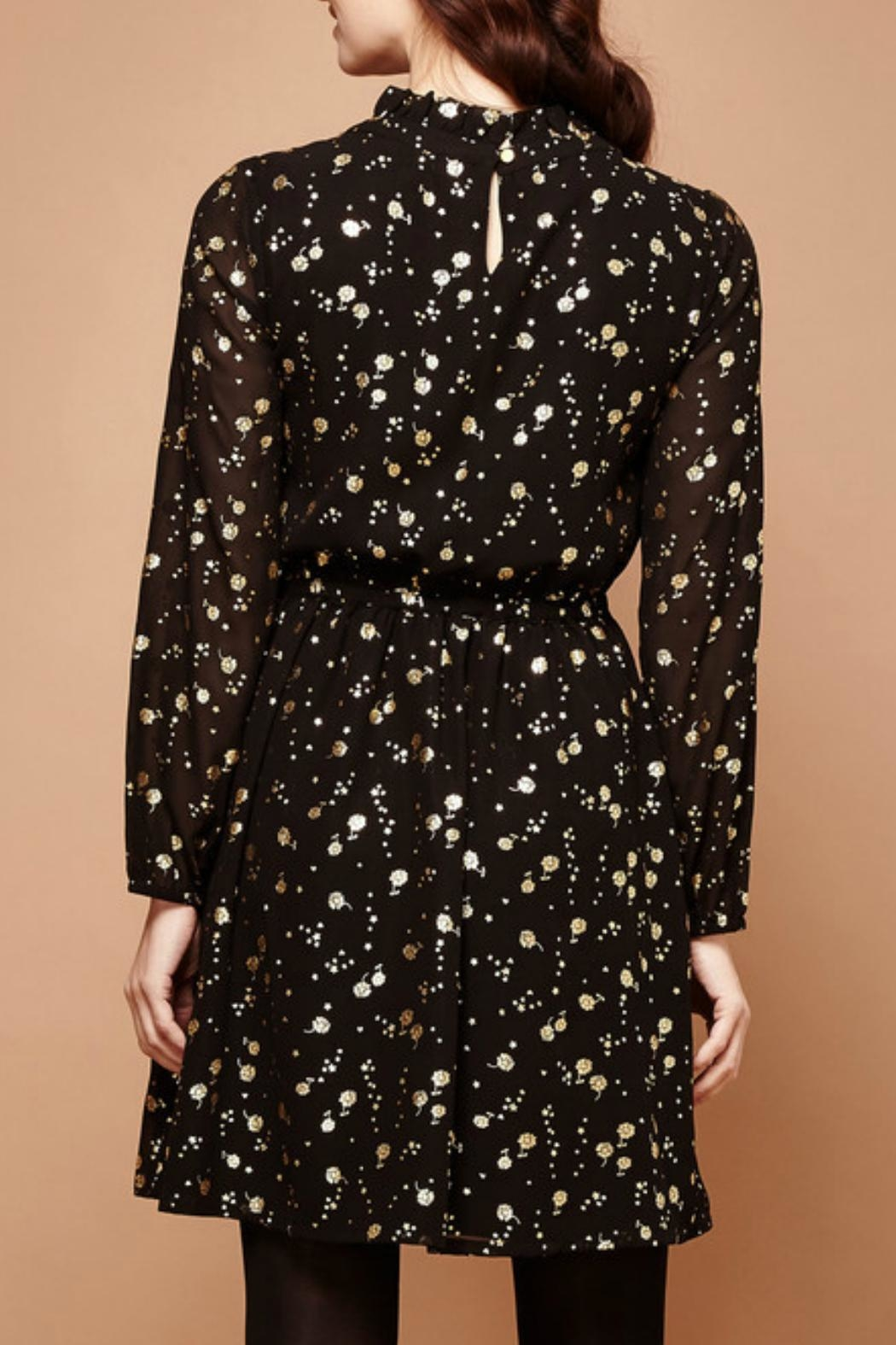Yumi Gold Foil Dress - Side Cropped Image
