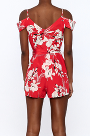 Yumi Kim Red Floral Silk Romper - Back cropped