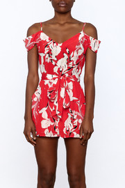 Yumi Kim Red Floral Silk Romper - Side cropped