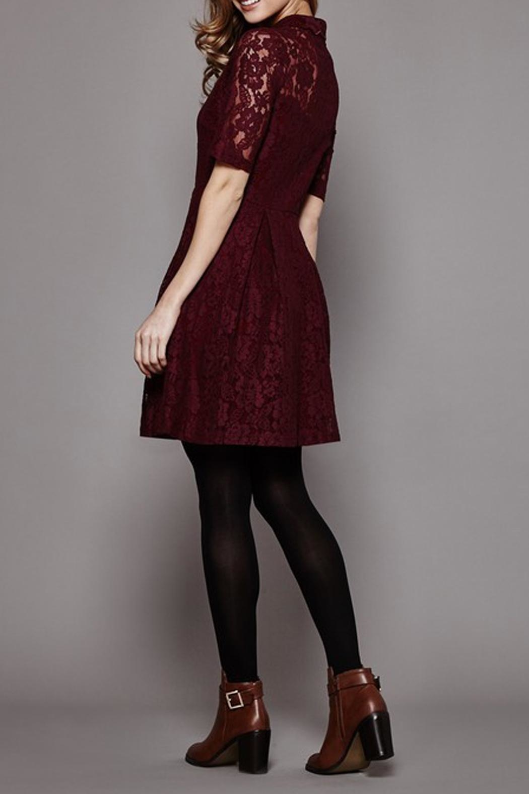 Yumi Lace Shirt Dress - Side Cropped Image