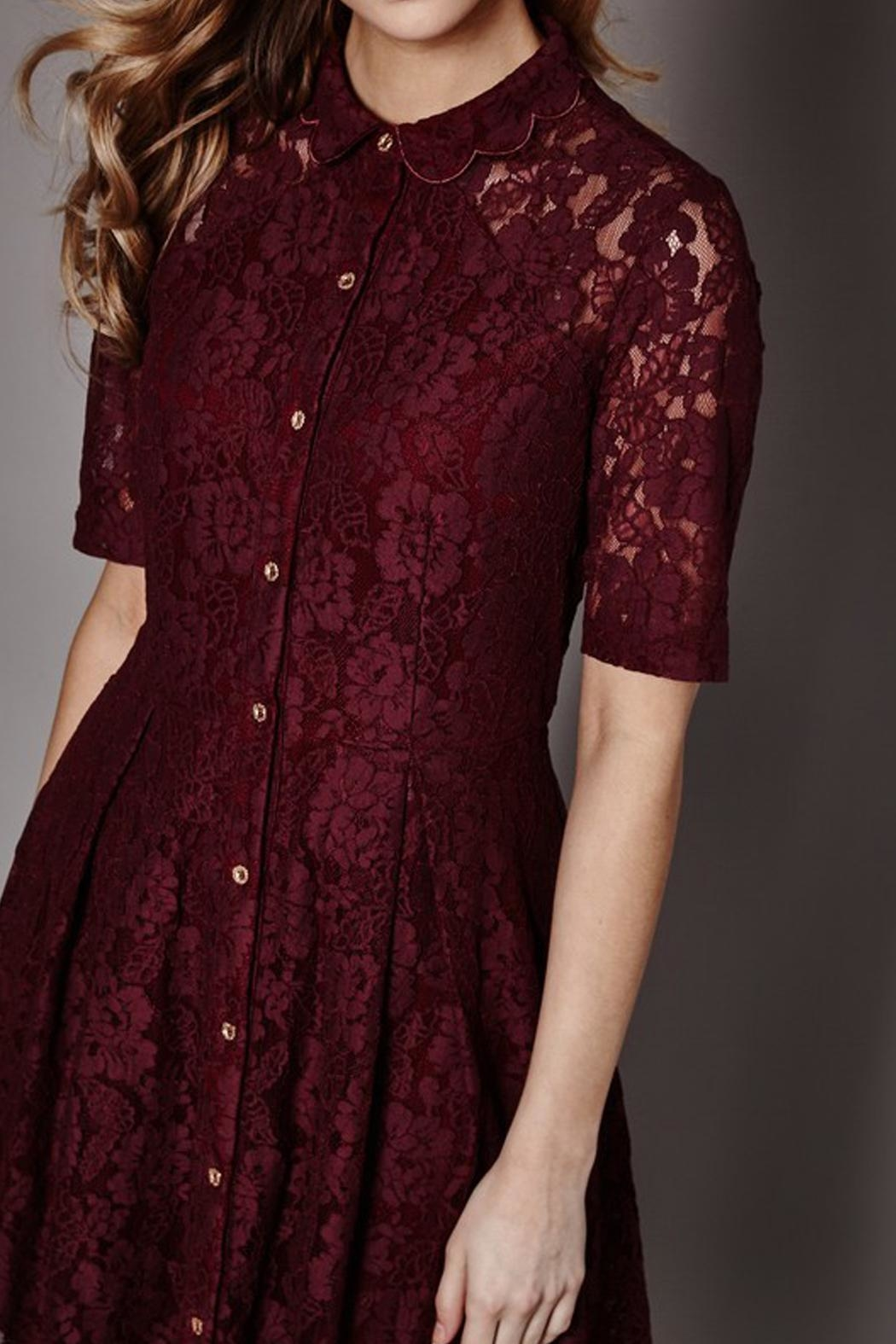Yumi Lace Shirt Dress - Front Full Image