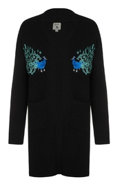 Yumi Peacock Embroidered Cardigan - Product Mini Image
